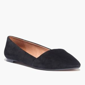 Madewell Mira black suede pointed toe flats
